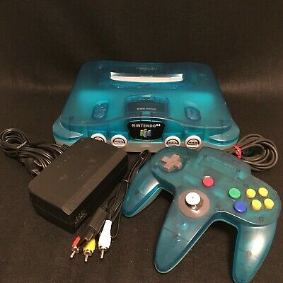 Nintendo 64 Clear Blue Console System Set NUS-001 Japan Controller Cable Game