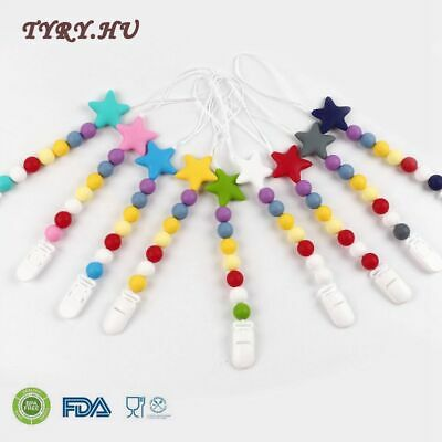 Baby Silicone Pacifier Chain Soother Teether Teething Beads With Clip BPA Free
