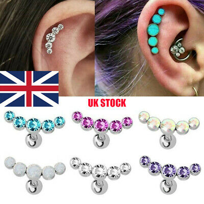 Curved Cartilage Ear Stud Helix Tragus Rook Conch Screw Back Piercing UK