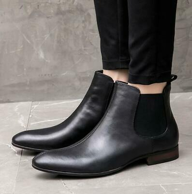 Mens Slip on Pointy Toe Business Work British Real Leather Chelsea Boots Shoes