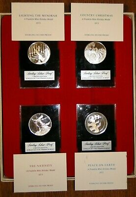 Franklin Mint 4Pc Limited Edition 1973 Holiday Proof Sterling Silver Medal Set