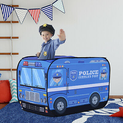 Kids Police Car Play Tent w/ top opening Pop-up Foldable Blue