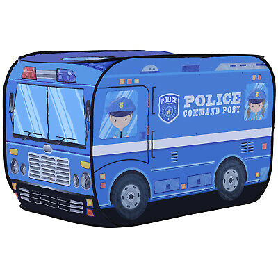 Kids Police Car Play Tent w/ top opening Foldable Pop-up Blue