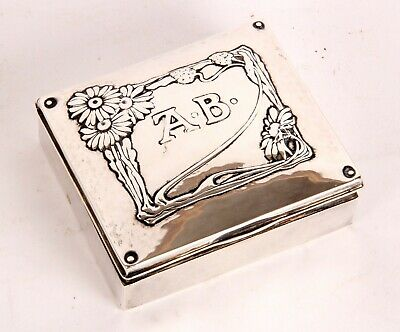Omar Ramsden and Alwyn Carr Arts Crafts Hallmarked Sterling Silver Box Nouveau