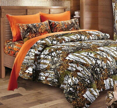 QUEEN 7 pc Camo Set Mixed Size White Snow KING comforter with Queen sheets