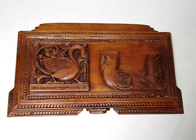 antique HAND CARVED Gothic wooden panel of two BIRDS, decorative treen
