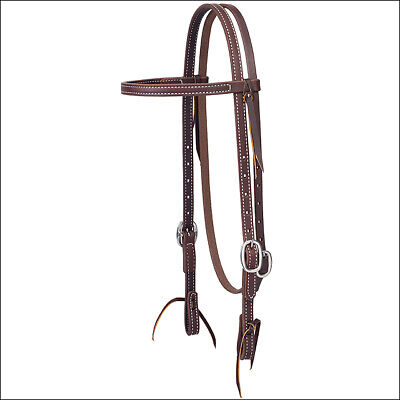 """C-0506 5/8"""" Weaver Working Cowboy Browband Horse Leather Headstall Stainless Ste"""
