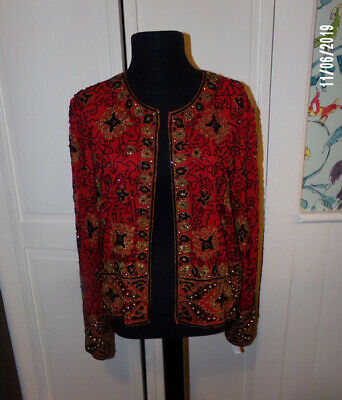 ADRIANNA PAPELL VINTAGE 100% Silk Sequin Beaded Evening Jacket Formal Size M