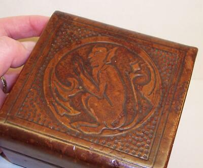 LOVELY Vintage/Antique TOOLED Brown LEATHER BOX with DEVIL Design SATAN/PAN