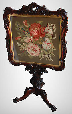 Antique Victorian Mahogany Fire Screen – beautiful needlepoint