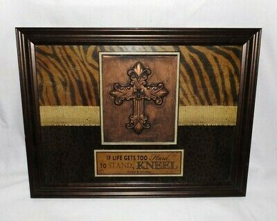 Brown/Bronze Color Framed Cross W/Saying Picture-If Life Gets Too Hard To Stand