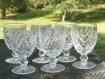 """6 Waterford Crystal Donegal Water Wine Goblets - 5 /1/4"""""""
