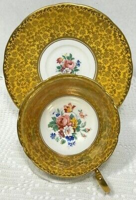 AYNSLEY Tea Cup and Saucer YELLOW assorted flowrals Lots of gold decoration