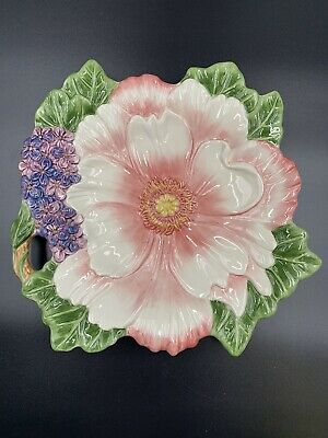 Flora and Fauna Canape Plate Fitz and Floyd 2003 Floral Dish Candy Nuts Ceramic