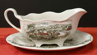 Johnson Bros. THE ROAD HOME Gravy Boat and Underplate Made in England Vintage