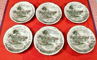 "6 Johnson Bros. THE ROAD HOME Fruit Dessert Bowls 5 1/ 4"" Made in England"
