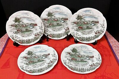 "5 Johnson Bros. THE ROAD HOME Bread + Butter Plates 6 1/4"" Made in England"