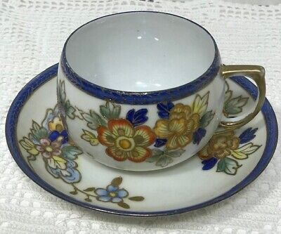 MEITO CHINA Tea Cup and Saucer HANDPAINTED very pretty!