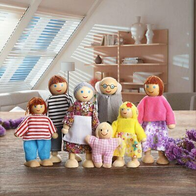 Wooden Furniture Dolls House Family Miniature 7People Set Doll Toy Kids Gifts AU