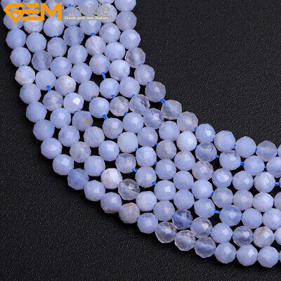 """Natural Faceted Blue Chalcedony Stone Spacer Jewelry Making Bead 15"""" 2mm 3mm 4mm"""