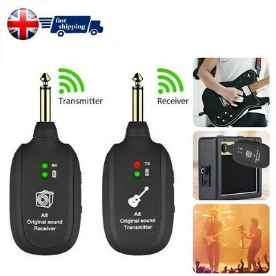 50M UHF Guitar Bass Wireless System Transmitter Receiver Rechargeable 4 Channels