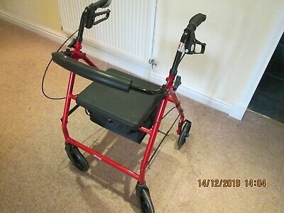 No 1 Drive 4 Wheel Walking Aid with Storage Bag & Seat Folds Used