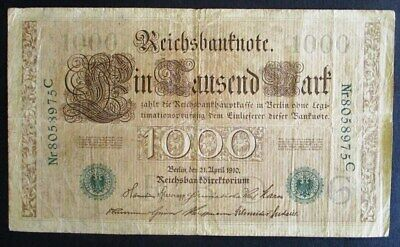 Germany 1000 mark banknote 1910 good used condition