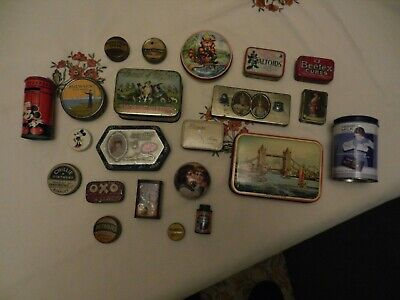 Collection Of 22 Nice Old Vintage & Antique Advertising Tins