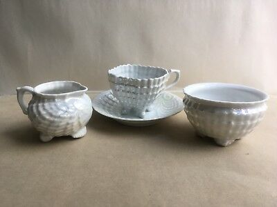 Czech China Cup,Saucer,Milk Jug &Sugar Bowl Set in Lustre Mother Of Pearl