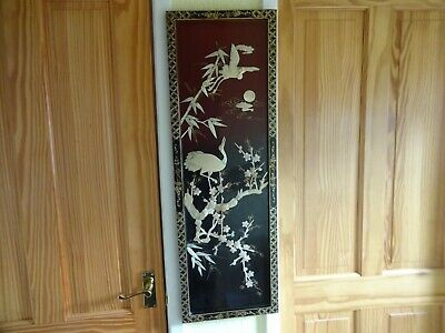 Oriental Chinese Shibyama Mother of Pearl Lacquer Wooden Picture Panel Crane
