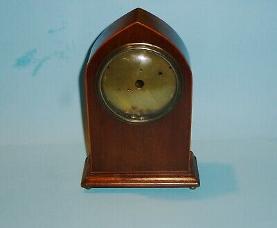 Vintage Lancet Shape Mahogany Mantel Clock Case. No Dial Or Movement