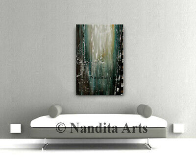 Red Heart abstract paintings Valentine on canvas original Wall art - Nandita