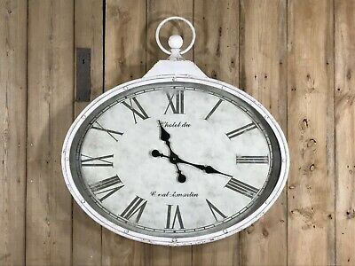 Oval Wall Clock Antique Looking With Roman Numerals White Metal 80x77cm
