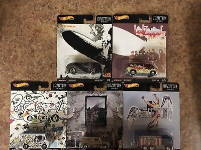 Hot Wheels New Led Zeppelin Set Of All 5 Cars Very Nice Artwork Also On Cards!!