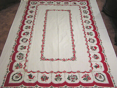 Vtg Christmas Large Tablecloth Noel Stockings Candy Cane Sleigh Fireplaces Boots