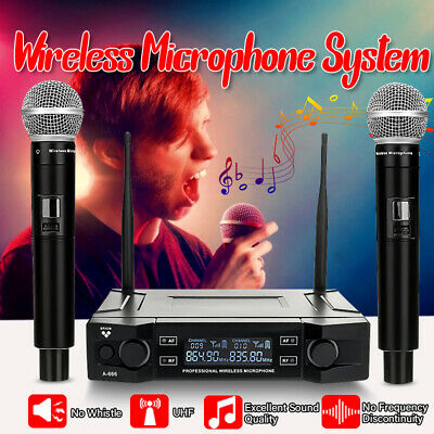 UHF Digital Wireless Pro Microphone System With Dual Handheld Mic Karaoke Party