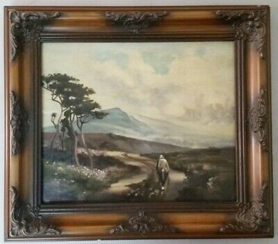 Antique french barbizon school oil painting on canvas
