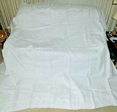 Antique White Linen Damask French Tablecloth - Huge!