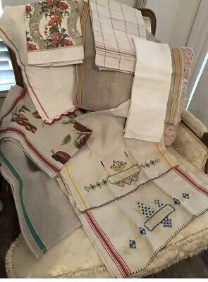 8 Beautiful Vintage Antique Linen Kitchen Towels +1 NWT Made In Italy