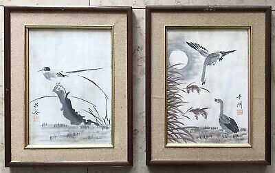 A Pair Of Framed Signed Antique Oriental Paintings On Fabric Geese And Bird