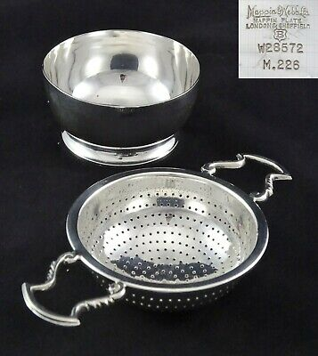 Dainty Art Nouveau Mappin And Webb Tea Strainer Infuser And Stand Silver Plated