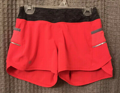 Athleta Girls Record Breaker Lined Shorts Bright Pink/Red Gray Size M 8-10 EUC