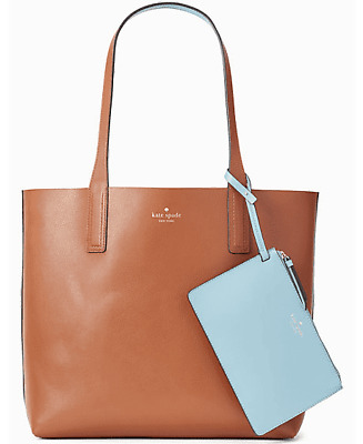 NWT Kate Spade Large Reversible Leather Tote + Pouch WKRU5963 Medium Brown $329