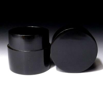 OP16 Vintage Japanese Lacquered Wooden Tea Caddy, NATSUME, Black lacquer