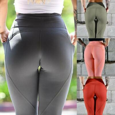 Womens Push Up Yoga Pants Leggings Pocket Curved Fitness Stretch Gym Trousers A2