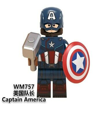 Lego fit mini figures Marvel Avengers Captain America with Thor's Hammer