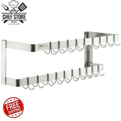 36 NSF Wall Mounted Restaurant Stainless Steel Double Line Pot Rack with Hooks