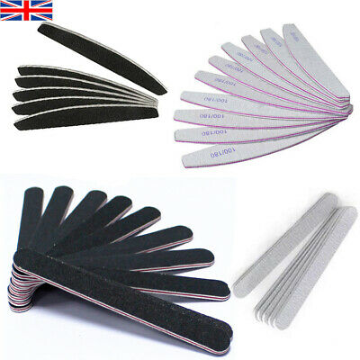 Nail Files 100/180 Grit Double Sided High Quality Half Moon straight Diamond UK