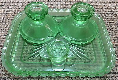Vintage 1930s Art Deco Chunky Green Glass Style Dressing Table Tray/Candlesticks
