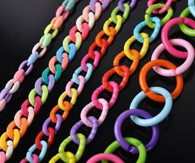 Colorful Chunky Acrylic Open Chains Link Rings Connectors For Jewelry Making DIY